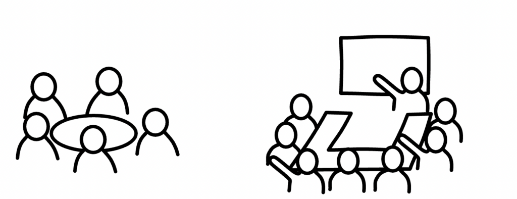 stick figures around table in meeting