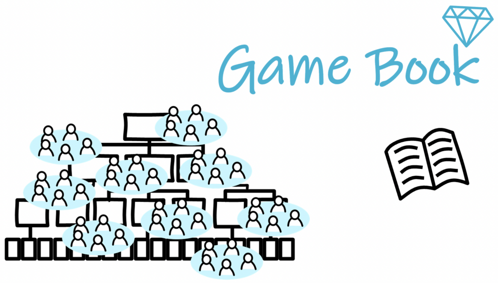 game book, hybrid organization
