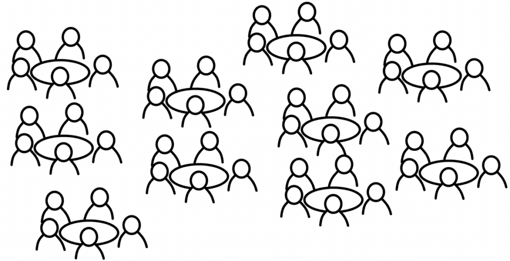 people in meetings around tables