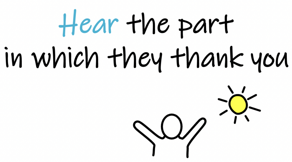 hear the part in which they thank you