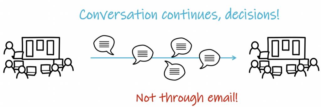 conversation continues, decisions