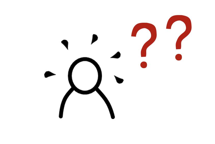 stick figure, question marks